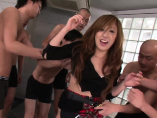 Real Japanese schoolgirl in a fuck increased by suck gangbang