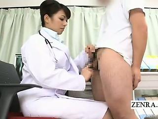 Subtitled CFNM Japanese doctor handjob instructional